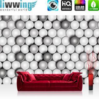 liwwing Vlies Fototapete 300x210 cm PREMIUM PLUS Wand Foto Tapete Wand Bild Vliestapete - 3D Tapete Abstrakt Muster Kreise Blättchen Design 3D weiß - no. 888
