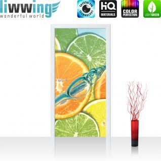 liwwing Vlies Türtapete 91x211 cm PREMIUM PLUS Tür Fototapete Türposter Türpanel Foto Tapete Bild - Limetten Orange Zitrone Waaser - no. 583