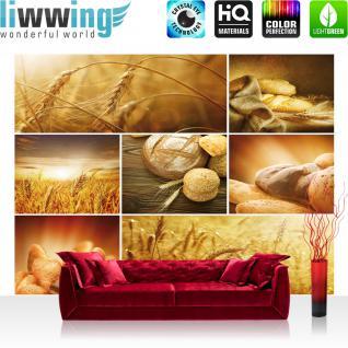 liwwing Vlies Fototapete 312x219cm PREMIUM PLUS Wand Foto Tapete Wand Bild Vliestapete - Kulinarisches Tapete Brot Weizen Getreide Natur Brötchen ocker - no. 2496