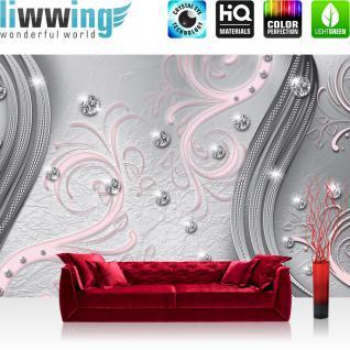 liwwing Fototapete 368x254 cm PREMIUM Wand Foto Tapete Wand Bild Papiertapete - Ornamente Tapete Mandala Perle Knopf Schnörgel Muster Design Ranke Vintage rot - no. 555
