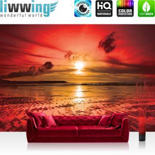 liwwing Vlies Fototapete 200x140 cm PREMIUM PLUS Wand Foto Tapete Wand Bild Vliestapete - Sonnenuntergang Tapete Meer Ebbe Wellen Strand Himmel Wolken Sonnenuntergang rot - no. 816