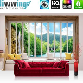 liwwing Vlies Fototapete 416x254cm PREMIUM PLUS Wand Foto Tapete Wand Bild Vliestapete - Wald Tapete Wasserfall See Laubwald Fenster natural - no. 3425