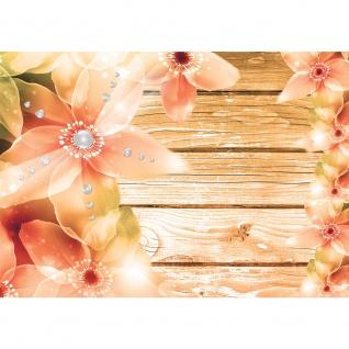 Fototapete Illustrationen Tapete Holzwand Bretter Illustration Holz Blumen Illustration bunt | no. 2719