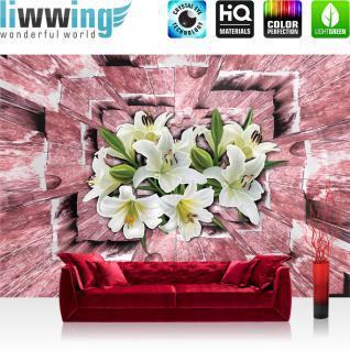 liwwing Vlies Fototapete 312x219cm PREMIUM PLUS Wand Foto Tapete Wand Bild Vliestapete - Holz Tapete Tunnel 3D Holz Holzoptik Blumen Blüten Orchideen braun - no. 2563