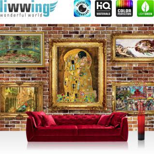 liwwing Fototapete 368x254 cm PREMIUM Wand Foto Tapete Wand Bild Papiertapete - Steinwand Tapete Steinoptik Stein Gemälde Bilder Rahmen braun - no. 2466