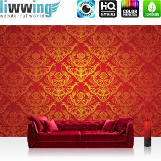 liwwing Vlies Fototapete 416x254cm PREMIUM PLUS Wand Foto Tapete Wand Bild Vliestapete - Ornamente Tapete Illustration Muster Schnörkel rot - no. 3158