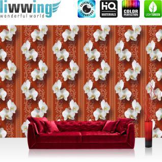 liwwing Vlies Fototapete 312x219cm PREMIUM PLUS Wand Foto Tapete Wand Bild Vliestapete - Orchideen Tapete Blumen Blüten Orchideen Streifen braun - no. 2600