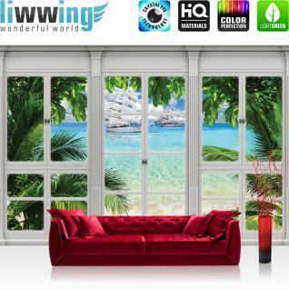 liwwing Fototapete 368x254cm PREMIUM Wand Foto Tapete Wand Bild Papiertapete - Meer Tapete Palmen Segelschiffe Yachten Karibik Südsee natural - no. 3419