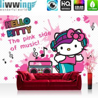liwwing Vlies Fototapete 350x245 cm PREMIUM PLUS Wand Foto Tapete Wand Bild Vliestapete - Mädchen Tapete Hello Kitty - Kindertapete Cartoon Katze Musik Tanzen pink - no. 514