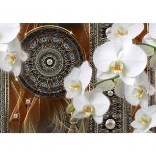 Fototapete Ornamente Tapete Traumfänger Mandala Geflecht Netz Perlen Linien Orchidee gold | no. 2033