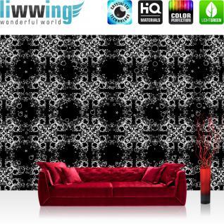 liwwing Fototapete 368x254 cm PREMIUM Wand Foto Tapete Wand Bild Papiertapete - Ornamente Tapete Schnörkel Muster Design Kunst schwarz weiß - no. 2994