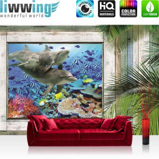 liwwing Vlies Fototapete 416x254cm PREMIUM PLUS Wand Foto Tapete Wand Bild Vliestapete - Meer Tapete Holzwand Holz Fenster Palme unter Wasser Meerestiere blau - no. 1319