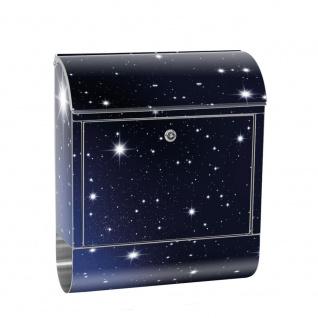 Edelstahl Wandbriefkasten XXL mit Motiv & Zeitungsrolle | Sternenhimmel Stars Sterne Nachthimmel | no. 0028