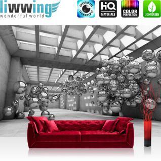 liwwing Vlies Fototapete 368x254cm PREMIUM PLUS Wand Foto Tapete Wand Bild Vliestapete - Architektur Tapete Arkaden Seifenblasen Kugeln schwarz - weiß - no. 3245