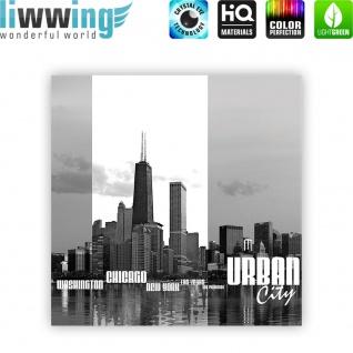 Leinwandbild Chicago New York Las Vegas Skyline Schrift Schwarz-Weiß Wasser   no. 281 - Vorschau 4