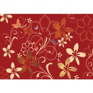 Fototapete Illustrationen Tapete Ornamente Blumen rot bunt rot | no. 1109