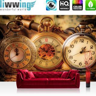 liwwing Vlies Fototapete 208x146cm PREMIUM PLUS Wand Foto Tapete Wand Bild Vliestapete - Kunst Tapete Uhr Taschenuhr Zeit Zahlen braun - no. 2200