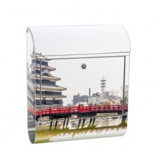 Edelstahl Wandbriefkasten XXL mit Motiv & Zeitungsrolle | Japan Turm Kaiser Wasser Natur | no. 0253