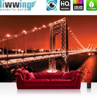 liwwing Vlies Fototapete 208x146cm PREMIUM PLUS Wand Foto Tapete Wand Bild Vliestapete - Architektur Tapete Brücke Wasser Lichter Nacht rot - no. 2656