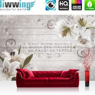 liwwing Vlies Fototapete 416x254cm PREMIUM PLUS Wand Foto Tapete Wand Bild Vliestapete - Orchideen Tapete Blüten Ornamente Holz französisch weiß - no. 3193