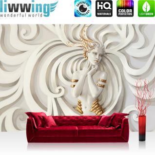 liwwing Fototapete 368x254 cm PREMIUM Wand Foto Tapete Wand Bild Papiertapete - Kunst Tapete Ornamente Frau Kunst Schnörkel Erotik weiß - no. 2142