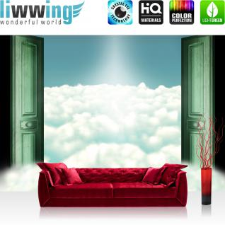 liwwing Vlies Fototapete 312x219cm PREMIUM PLUS Wand Foto Tapete Wand Bild Vliestapete - Himmel Tapete Wolken Himmel Tür Sonne Licht grün - no. 2003