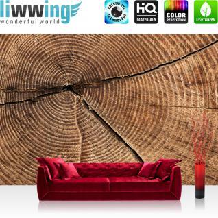 liwwing Fototapete 368x254 cm PREMIUM Wand Foto Tapete Wand Bild Papiertapete - Holz Tapete Stamm Querschnitt Lebensringe Natur braun - no. 2483 - Vorschau 1