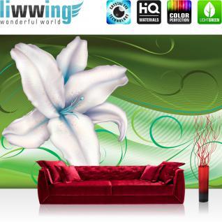 liwwing Vlies Fototapete 416x254cm PREMIUM PLUS Wand Foto Tapete Wand Bild Vliestapete - Blumen Tapete Herzen Blume Blüten Rose blau - no. 1565