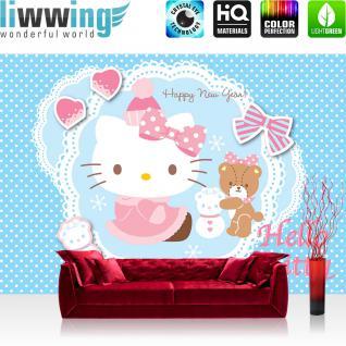 liwwing Fototapete 368x254 cm PREMIUM Wand Foto Tapete Wand Bild Papiertapete - Mädchen Tapete Hello Kitty - Kindertapete Cartoon Katze Herzen Bär Winter blau - no. 512