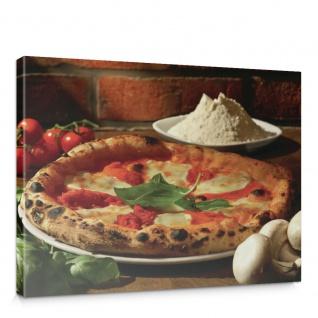 Leinwandbild Pizza Gewürze Gemüse Pilze Tomaten Basilikum   no. 1392