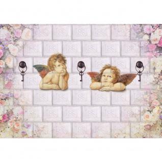Fototapete Kunst Tapete Engel Kacheln Schlüssel Blumen Blüten Flügel beige | no. 2285