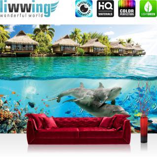 liwwing Vlies Fototapete 312x219cm PREMIUM PLUS Wand Foto Tapete Wand Bild Vliestapete - Meer Tapete Paradies Meer Bali Meerestiere Delfine blau - no. 1888