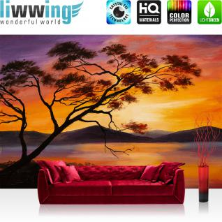 liwwing Vlies Fototapete 400x280 cm PREMIUM PLUS Wand Foto Tapete Wand Bild Vliestapete - Natur Sonnenuntergang Baum - no. 241