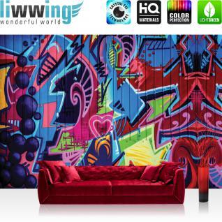 liwwing Vlies Fototapete 350x245 cm PREMIUM PLUS Wand Foto Tapete Wand Bild Vliestapete - Graffiti Tapete Kindertapete Malerei bunt Muster Schrift - no. 408