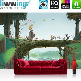 liwwing Fototapete 368x254 cm PREMIUM Wand Foto Tapete Wand Bild Papiertapete - Kindertapete Tapete Disney Princesses Disney Dornröschen Wald Hasen Vögel grün - no. 2612