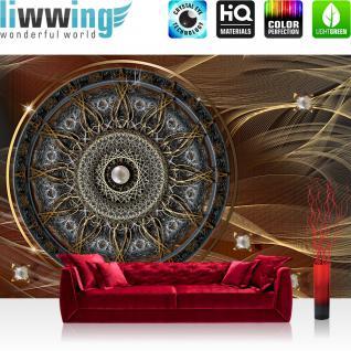 liwwing Vlies Fototapete 312x219cm PREMIUM PLUS Wand Foto Tapete Wand Bild Vliestapete - Ornamente Tapete Mandala Sterne Perlen braun - no. 3239