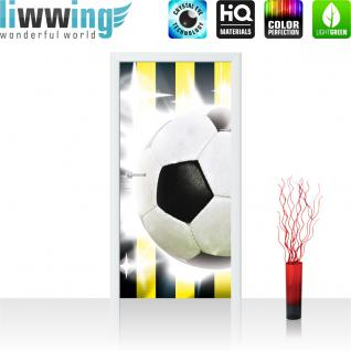 liwwing Türtapete selbstklebend 91x211 cm PREMIUM PLUS Tür Fototapete Türposter Türpanel Foto Tapete Bild - Fussball Ball Sterne - no. 1035