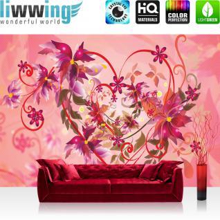 liwwing Vlies Fototapete 350x245 cm PREMIUM PLUS Wand Foto Tapete Wand Bild Vliestapete - Illustrationen Tapete Ornamente Blumen Muster Pflanze Kunst rot - no. 1056