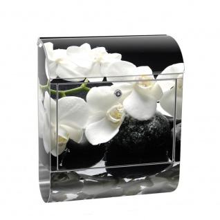 Edelstahl Wandbriefkasten XXL mit Motiv & Zeitungsrolle   Orchidee Blumen Blumenranke Rosa Natur Pflanzen   no. 0097
