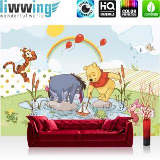 liwwing Vlies Fototapete 208x146cm PREMIUM PLUS Wand Foto Tapete Wand Bild Vliestapete - Disney Tapete Winnie Puuh IAh Tigger Winnie Pooh Ferkel Kindertapete Cartoon bunt - no. 3126