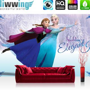 liwwing Vlies Fototapete 416x254cm PREMIUM PLUS Wand Foto Tapete Wand Bild Vliestapete - Disney Tapete Die Eiskönigin Frozen Kindertapete Animation Prinzessin Elsa Anna blau - no. 2083