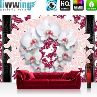 liwwing Vlies Fototapete 312x219cm PREMIUM PLUS Wand Foto Tapete Wand Bild Vliestapete - Orchideen Tapete Blumen Blüten Blätter Orchideen Streifen Kranz rosa - no. 2211