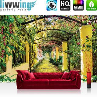 liwwing Vlies Fototapete 350x245 cm PREMIUM PLUS Wand Foto Tapete Wand Bild Vliestapete - Pflanzen Tapete Garten Weinblätter Säulen Garten Blumen grün - no. 333