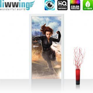 liwwing Vlies Türtapete 91x211 cm PREMIUM PLUS Tür Fototapete Türposter Türpanel Foto Tapete Bild - MARVEL Avengers Black Widow Kindertapete Comic Sand - no. 1140