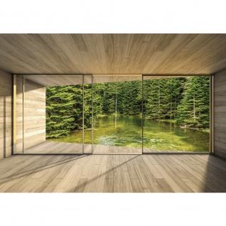 Fototapete Holz Tapete Holzoptik Fluss Wasser Bäume Natur Rahmen Fenster beige | no. 2157