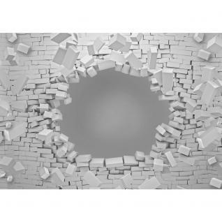 liwwing Vlies Fototapete 416x254cm PREMIUM PLUS Wand Foto Tapete Wand Bild Vliestapete - Illustrationen Tapete Steinmauer Stein Mauer Mann Blumestrauß Blume schwarz weiß - no. 1265 - Vorschau 2