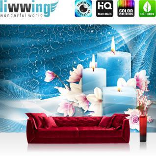 liwwing Vlies Fototapete 312x219cm PREMIUM PLUS Wand Foto Tapete Wand Bild Vliestapete - Illustrationen Tapete Blüten Rosen Tulpen Kerzen türkis - no. 3445