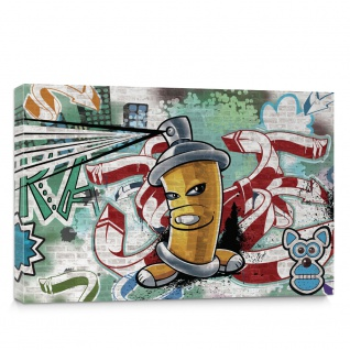 Leinwandbild Kinder Graffiti Dose Sprayer bunt | no. 339