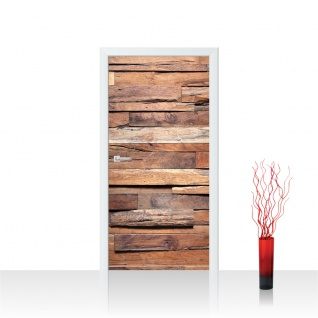 Türtapete - Holzwand Steinoptik Holz Wand Mauer Holztapete | no. 174 - Vorschau 1