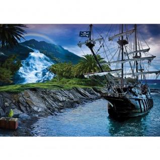 Fototapete Landschaft Tapete Insel Schiff Meer Schatz Regenbogen Wasserfall blau   no. 3005